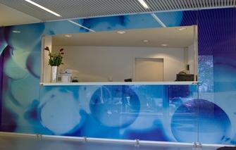 Glazenwanden voorzien van foto print - Moderne entree decoratie ...