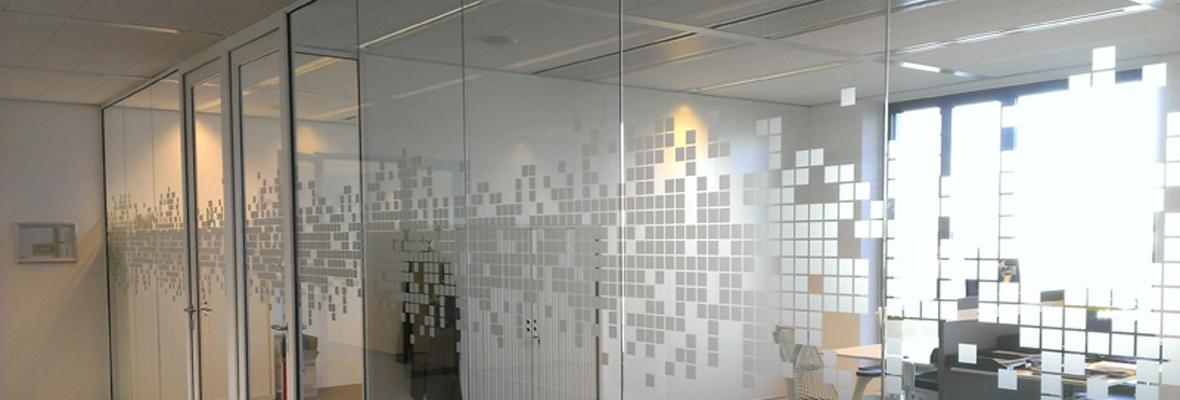 Gesneden zandstraal raamfolie kantoor wanden metroxl - Kantoor interieur decoratie ...