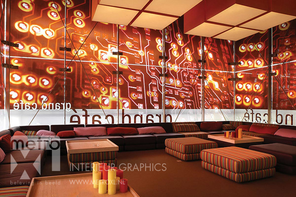 Raamfolie met print restaurant