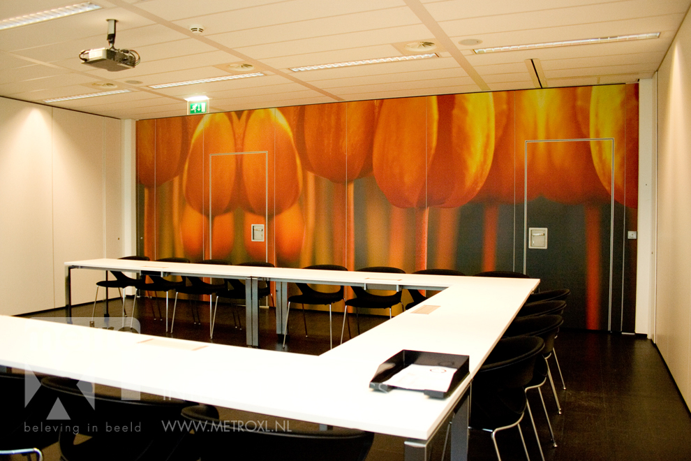 Wandbestickering systeemwand schuifwand tulpen
