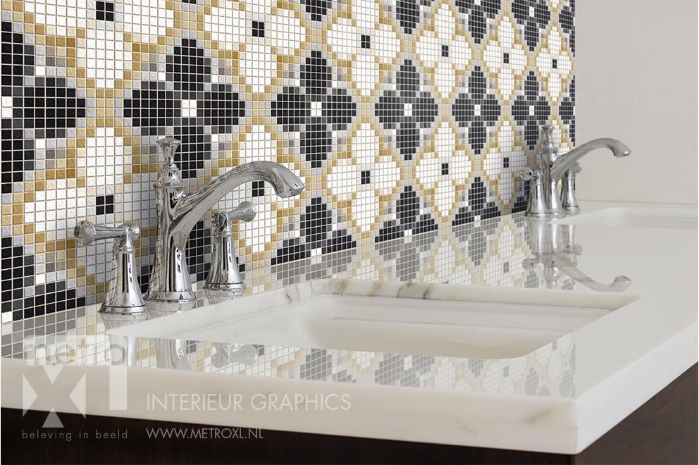 Badkamer tegeltjes wanddecoratie eigen print mozaïek