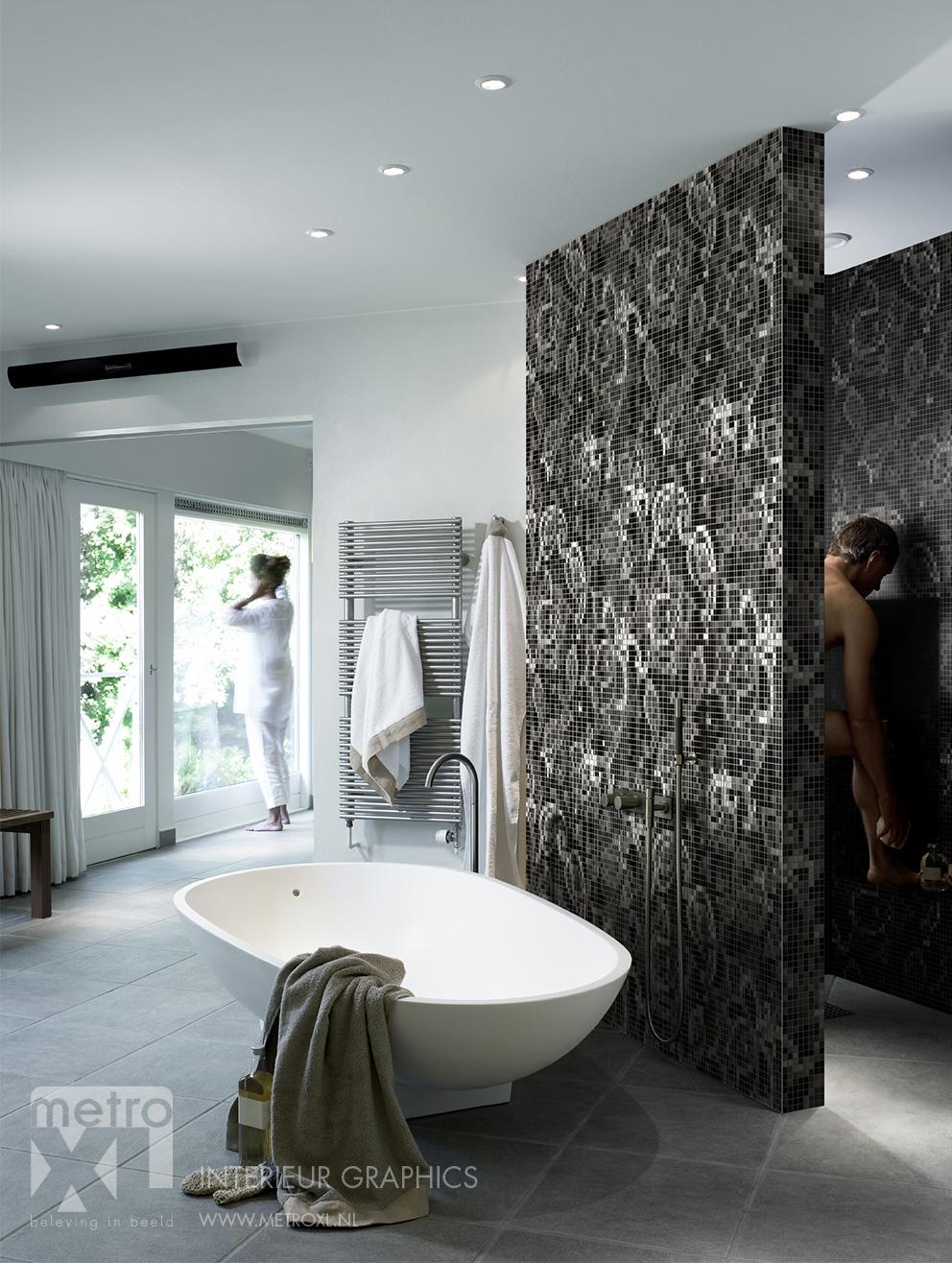 Badkamer eigen ontwerp mozaïek