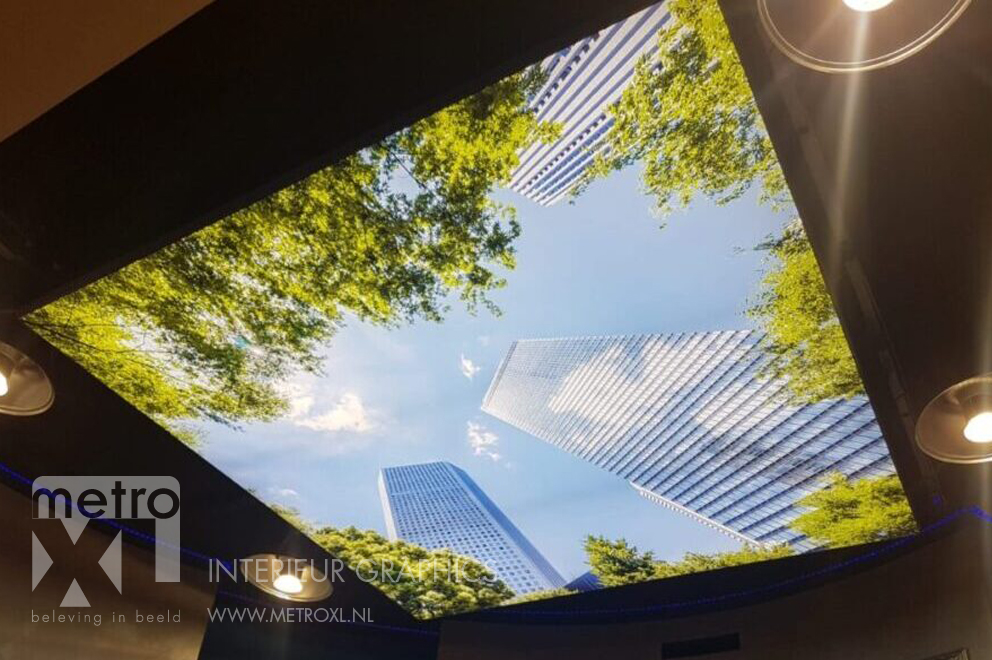 Lumiwall in plafond natuur wolkenkrabber