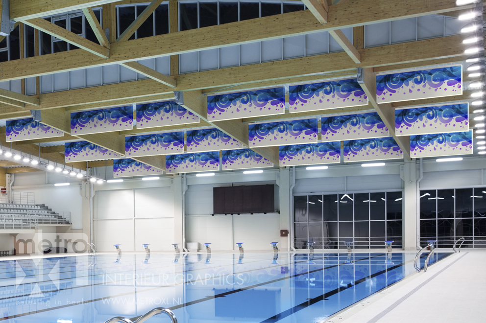 Pool sound wall absorbers baffle ceiling panel