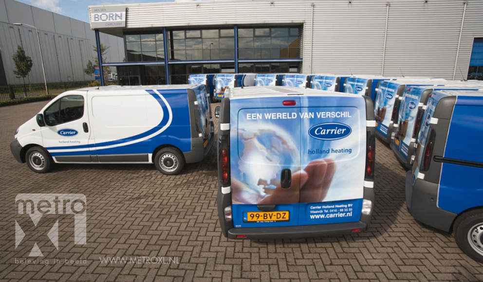 Wagenpark belettering full-colourwrap Carrier Holland Heating