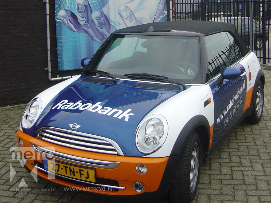 Rabobank belettering personenauto Mini