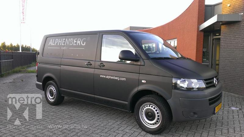 Bedrijfsbus wrappen Alphenberg mat-zwart
