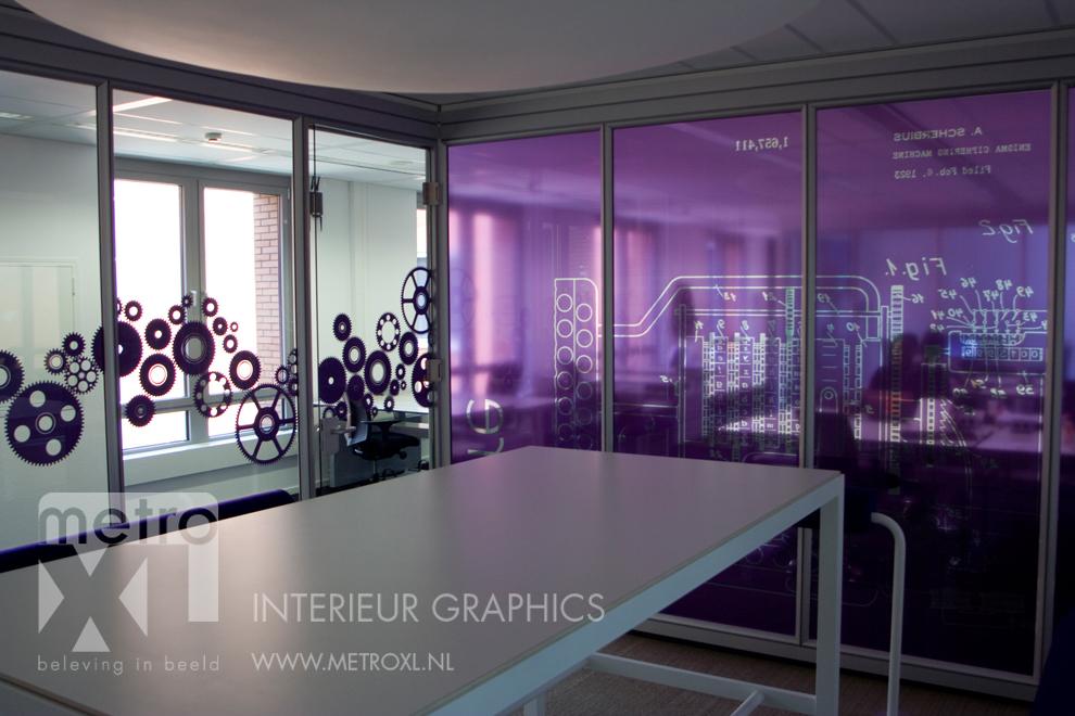 Transparant full-colour gesneden raamfolie paars