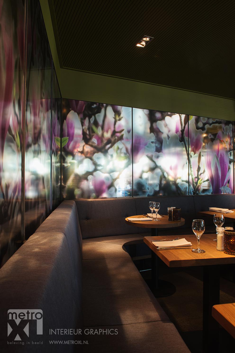 Transparant full-colour raamfolie restaurant natuur