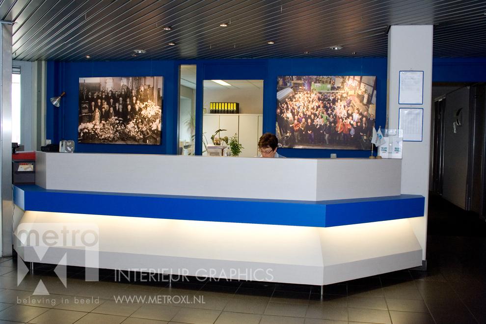 Balie renovatie kantoor blauw