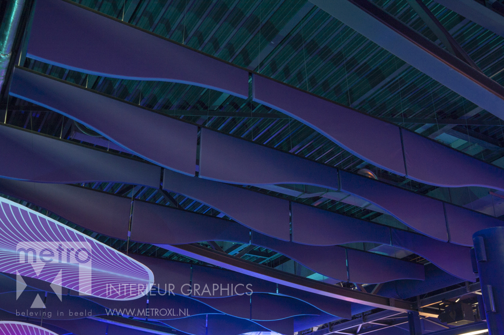 Pool sound wall absorbers baffle ceiling Sportiom den bosch 's-Hertogenbosch